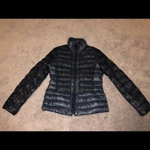 Down jacket with lace detail